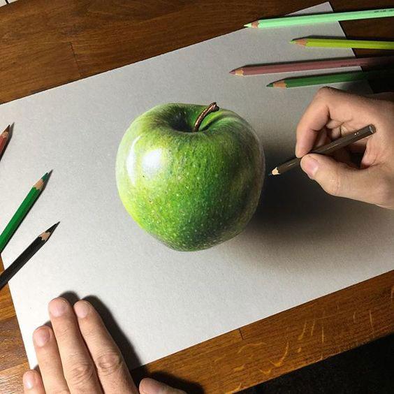 آموزش نقاشی از میوه با مداد رنگی